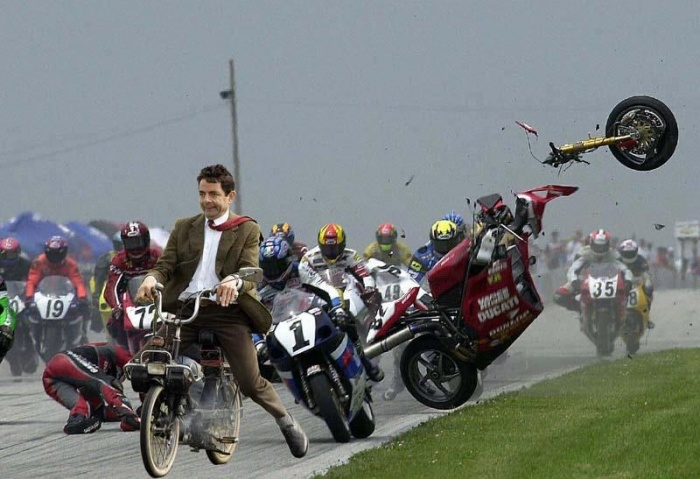 Mister Bean and motorcycle