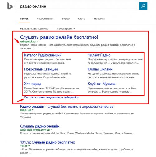 расширенный сниппет Bing